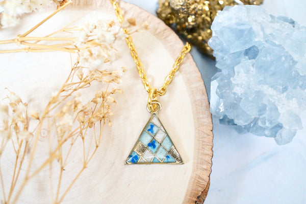 Real Pressed Flowers in Resin, Gold Triangle Necklace in Blues