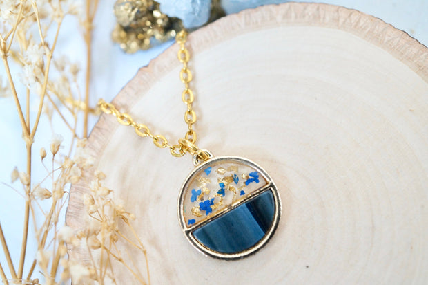 Real Pressed Flowers in Resin, Gold Necklace, Circle in Blue and Gold Flakes 1