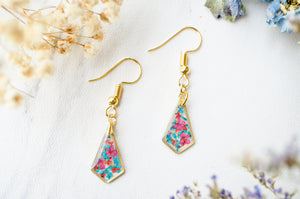 Real Pressed Flowers and Resin Drop Earrings, Gold Diamonds in Teal Red Burgundy