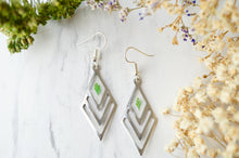 Real Pressed Flowers and Resin Earrings, Silver Drops with Green Fern