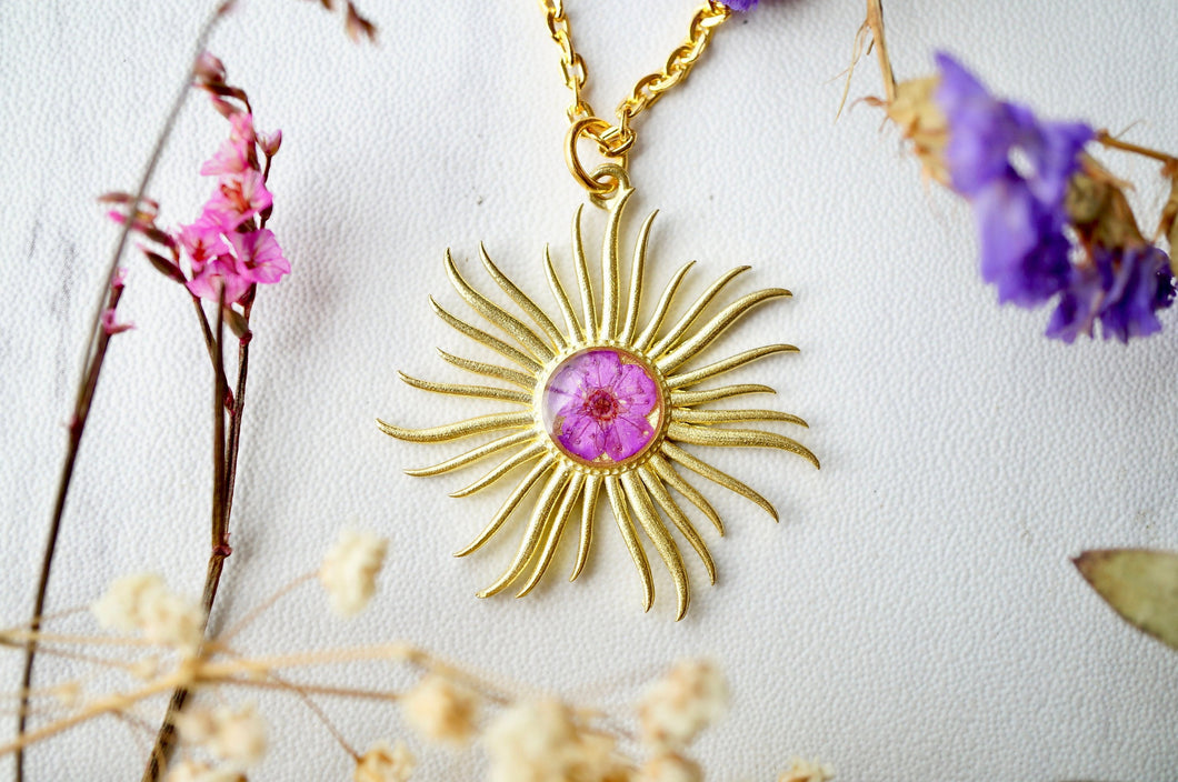 Real Pressed Flowers in Resin, Gold Necklace, Sun in Purple