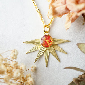 Real Pressed Flowers in Resin, Gold Necklace, Sun in Red and Orange