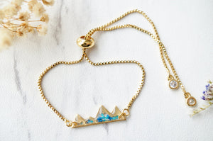 Real Pressed Flowers and Resin Adjustable Bracelet, Gold Mountains in Blue and Teal
