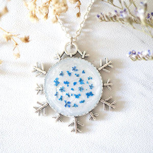 Real Pressed Flowers in Resin, Silver Snowflake Necklace