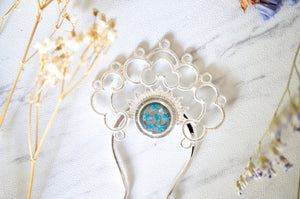 Real Pressed Flowers in Resin, Silver Hair Pin