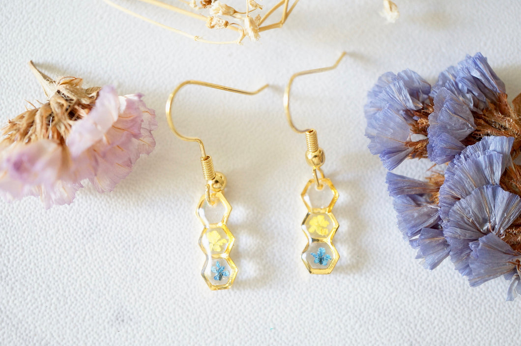 Real Pressed Flowers and Resin, Gold Earrings in Hexagon Drop