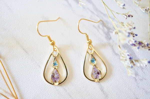 Real Pressed Flowers and Resin, Gold Teardrop Earrings