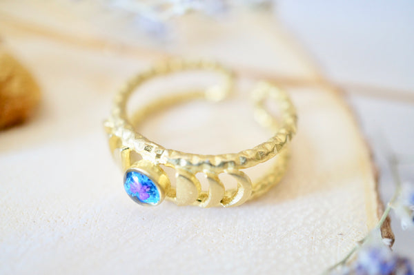 Real Pressed Flower and Resin Ring, Gold Band in Blue and Purple