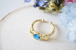 Real Pressed Flower and Resin Ring, Gold Moons in Blue and Teal
