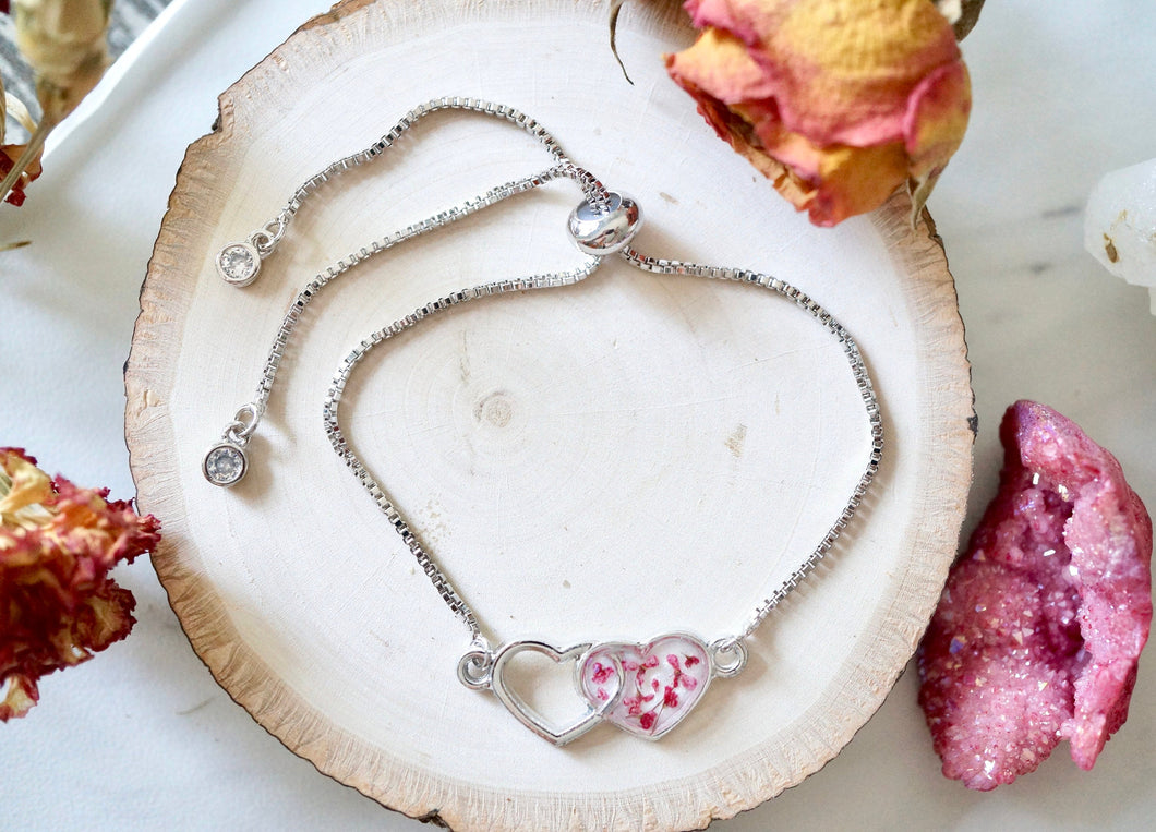 Real Pressed Flowers and Resin Adjustable Bracelet, Silver Hearts in Burgundy and White