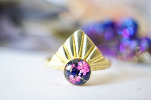 Real Pressed Flower and Resin Ring, Gold Half Sun in Pink Flowers and Purple Glass Glitter