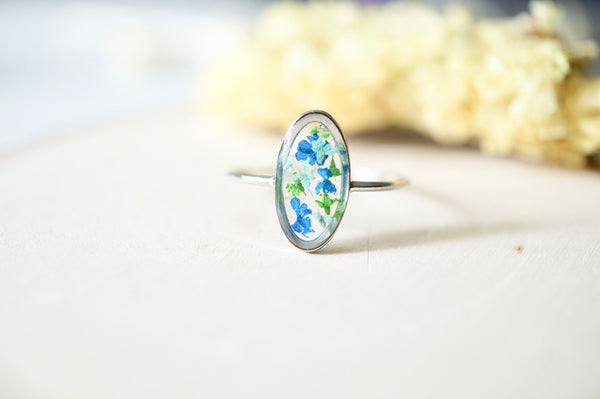 Real Pressed Flower and Resin Ring, Diamond Gold Band in Blue Teal Purple