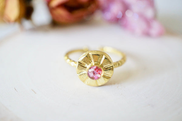 Real Pressed Flower and Resin Ring, Small Gold Sun in Pinks