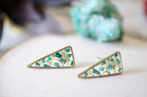 Real Pressed Flowers and Resin, Gold Triangle Stud Earrings in Light Yellow and Teal Glass Glitter
