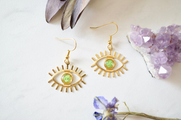 Real Pressed Flowers and Resin Drop Earrings, Gold Eyes in Green