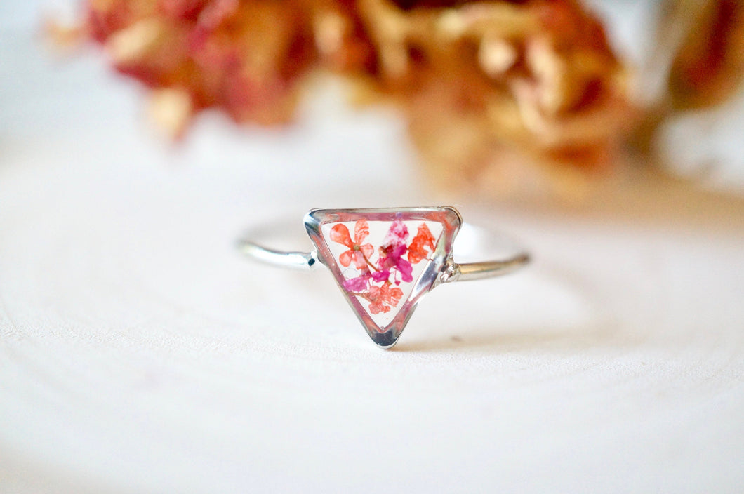 Real Pressed Flower and Resin Ring, Triangle Silver Band in Burgundy and Red