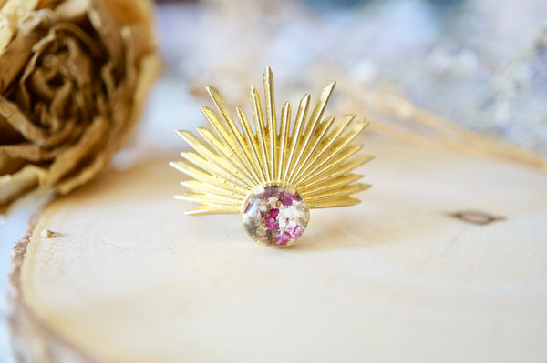 Real Pressed Flower and Resin Ring, Gold Half Sun in Burgundy and White
