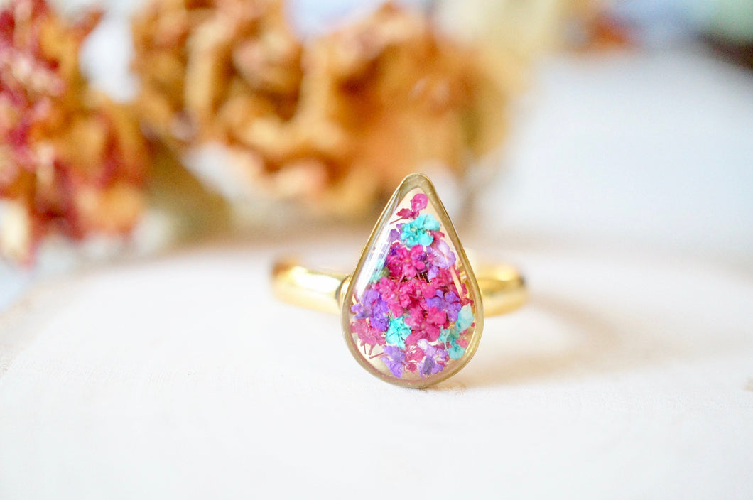 Real Pressed Flower and Resin Ring, Gold Teardrop in Burgundy Teal Purple