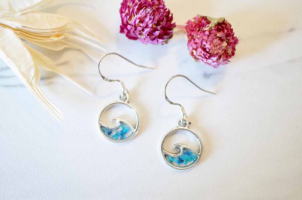 Real Pressed Flowers and Resin Dangle Earrings, Small Silver Waves in Teal and Blue
