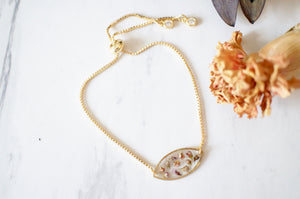 Real Pressed Flowers and Resin Adjustable Bracelet, Gold Oval with Heather Flowers