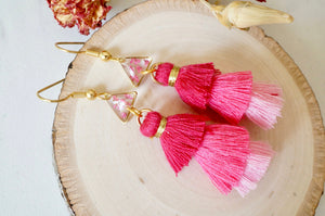 Real Pressed Flowers and Resin Dangle Earrings, Gold and Pink Tassels with Pink Flowers