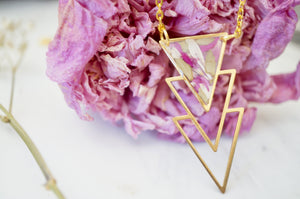 Real Pressed Flowers in Resin, Gold Necklace in Confetti Mix