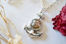 Real Pressed Flowers in Resin, Silver Anchor with Heather Flowers