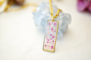 Real Pressed Flowers in Resin, Gold Necklace Bar in Pinks