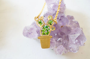 Real Pressed Flowers Necklace, Gold Cactus in Green