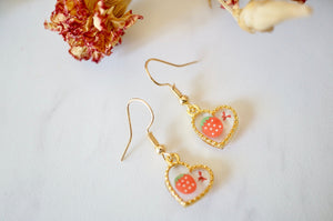 Real Pressed Flowers Earrings, Gold Heart Drops in Red and Strawberry