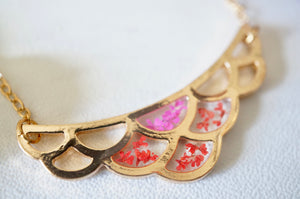 Real Pressed Flowers in Resin, Gold Necklace, Mermaid Scales in Pink and Red