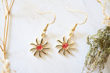 Real Pressed Flowers Earrings, Gold Sun Drops in Red