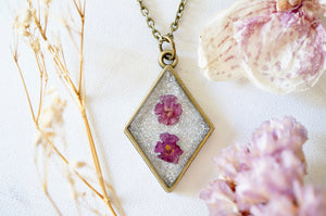 Real Pressed Flowers in Resin, Bronze Necklace in Purple and Iridescent Glitter