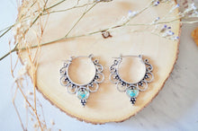 Real Pressed Flowers Earrings, Silver Tribal Hoops in Teal and Mint