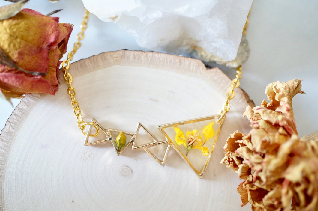 Real Pressed Flowers in Resin, Gold Necklace in Yellow