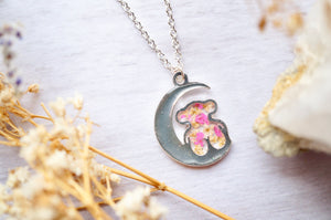 Real Pressed Flowers in Resin, Silver Bear and Moon Necklace in Yellow and Pink