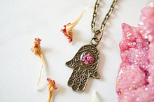 Real Pressed Flowers in Resin, Bronze Hamsa Necklace in Pink