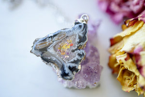 Real Pressed Flowers in Resin, Silver Druzy Geode Necklace in Black and Party Mix