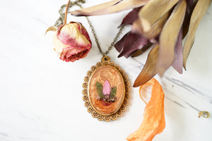 Real Pressed Flowers in Resin, Wood Necklace in Orange with Mixed Flowers
