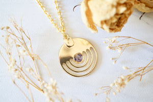 Real Pressed Flowers in Resin, Gold Necklace in Purple