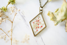 Real Pressed Flowers in Resin, Bronze Diamond Necklace in Red and Yellow