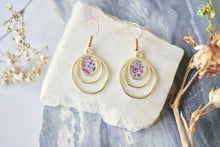 Real Pressed Flowers Earrings, Gold Drops in Purples