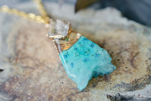 Real Pressed Flowers in Resin, Gold Druzy Geode Necklace in Teal and Mint