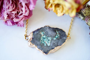 Real Pressed Flowers in Resin, Gold Druzy Geode Necklace in Black Teal and Mint