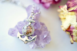 Real Pressed Flowers in Resin, Silver Anchor Necklace with Heather Flowers