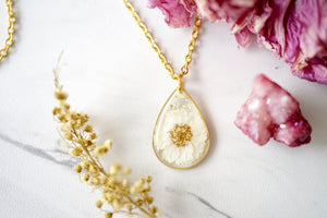 Real Pressed Flowers in Resin, Gold Teardrop Necklace in White