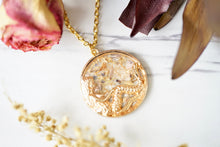 Real Pressed Flowers in Resin, Gold Mermaid Necklace