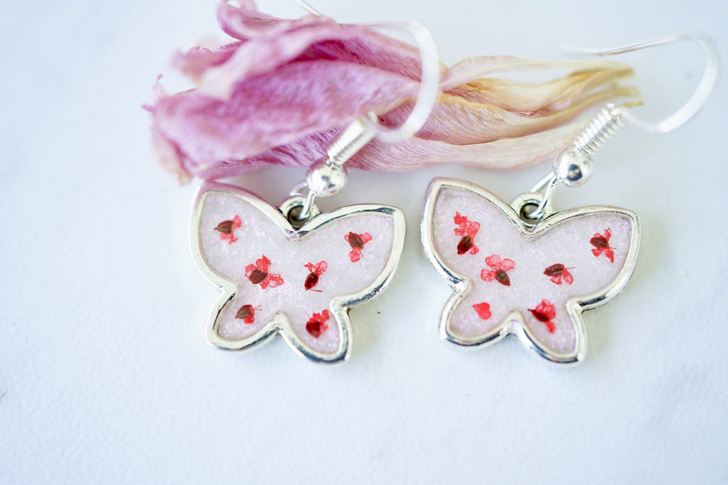 Real Pressed Flowers Earrings, Silver Butterfly Drops in Red