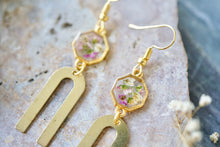 Real Pressed Flowers Earrings, Gold Rainbow Drops with Alyssum