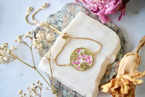 Real Pressed Flowers and Resin Adjustable Bracelet, Gold Palm Tree Leaves in Pink